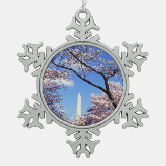 Cherry blossom in Washington DC Snowflake Pewter Christmas Ornament