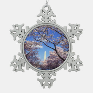 Cherry blossom in Washington DC Snowflake Pewter Christmas Ornament