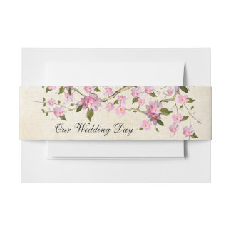Cherry Blossom Invitation Belly Band
