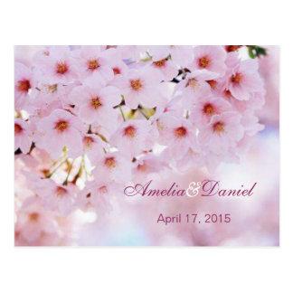 Cherry blossom invitation reply, RSVP Postcard