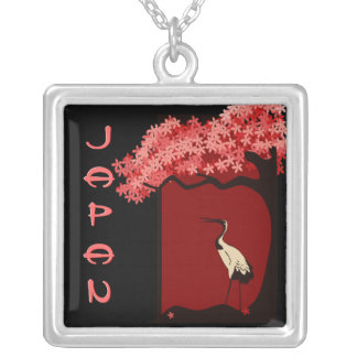 Cherry Blossom Japanese Crane Necklace