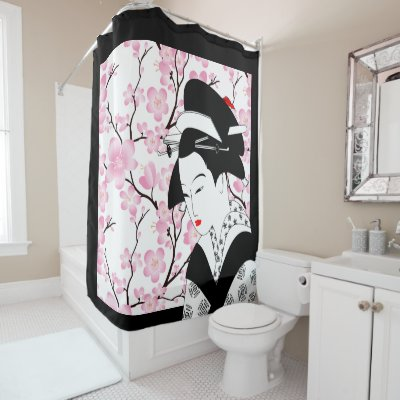 Cherry Blossom Japanese Geisha Pink Black White 3 Shower Curtain