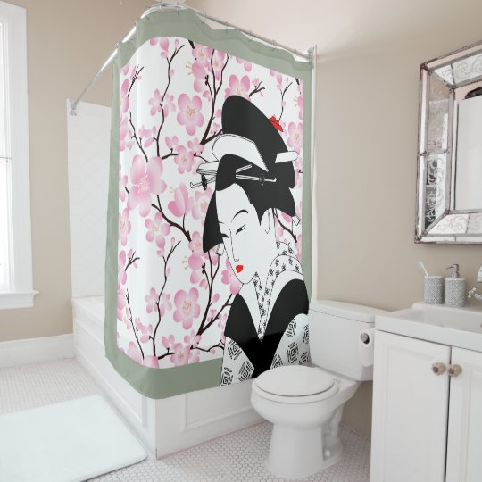Cherry Blossom Japanese Geisha Pink Grey Gray 2 Shower Curtain
