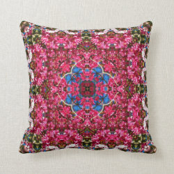 Cherry Blossom Kaleidoscope Design Throw Pillow