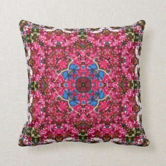 Cherry Blossom Kaleidoscope Design Throw Pillow