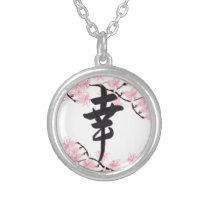 Cherry Blossom Kanji Happiness Necklace