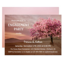 Cherry Blossom Landscape Engagement Invitation