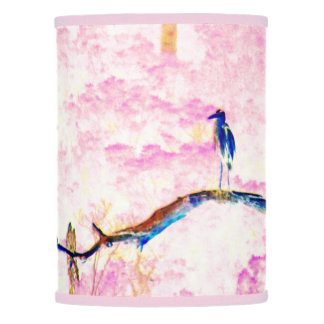 Cherry Blossom Landscape With Water Bird Lamp Shade