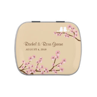 Cherry Blossom (Latte / Pink) Wedding Candy Jelly Belly Candy Tins