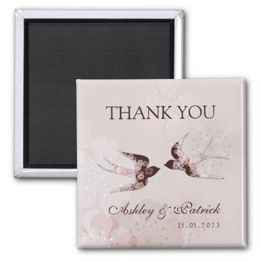 Cherry Blossom Love Swallows2 Wedding Magnet