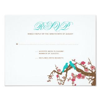 Cherry Blossom Lovebirds Wedding RSVP Announcements