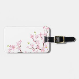 Cherry Blossom Luggage Tag w/ leather strap