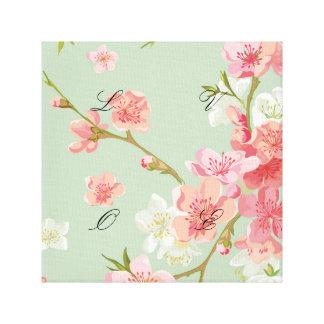 Cherry blossom,mint,jade,trendy,beautiful,pattern, canvas print