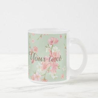 Cherry blossom,mint,jade,trendy,beautiful,pattern, 10 oz frosted glass coffee mug