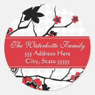 Cherry Blossom Modern Address Labels Classic Round Sticker