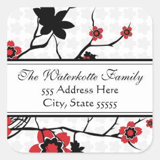 Cherry Blossom Modern Address Labels Square Sticker