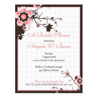 Cherry Blossom Modern Custom Bridal Shower Post Card