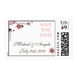 Cherry Blossom Modern Custom Save the Date Stamps