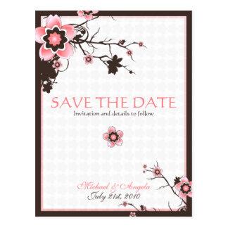 Cherry Blossom Modern Custom Save The Date Postcards