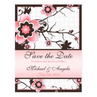 Cherry Blossom Modern Custom Save The Date Post Card