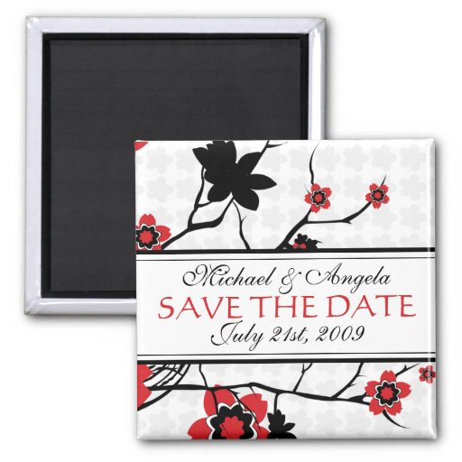 Cherry Blossom Modern Save The Date Fridge Magnet