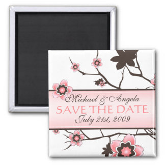 Cherry Blossom Modern Save The Date Magnet