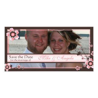 Cherry Blossom Modern Save the Date Photo Card