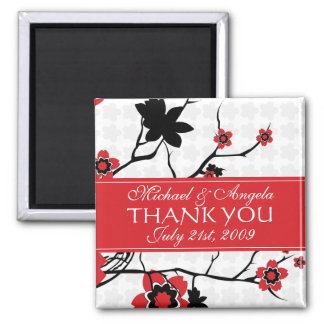 Cherry Blossom Modern Thank You 2 Inch Square Magnet