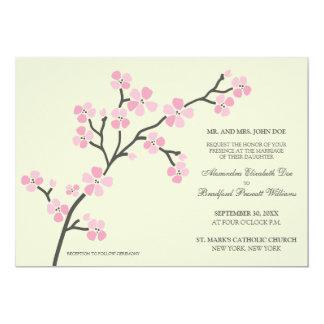 Cherry Blossom Modern Wedding Invitation :: pink