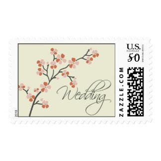 Cherry Blossom Modern Wedding Postage :: coral