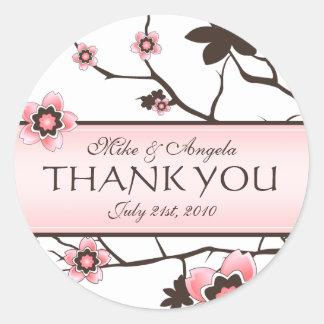 Cherry Blossom Modern Wedding Thank You Classic Round Sticker
