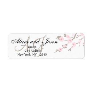 Cherry Blossom Monogram Return Address Labels