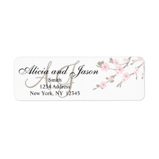 Return Address Labels for Cherry Blossom Wedding Invitations by MonogramGallery.ca
