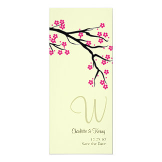 cherry blossom | monogram; save the date card