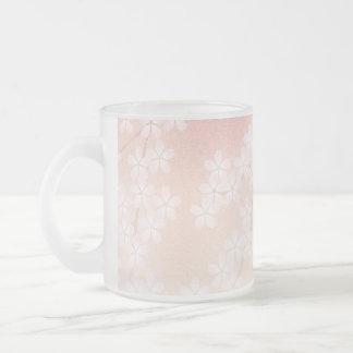 Cherry Blossom 10 Oz Frosted Glass Coffee Mug