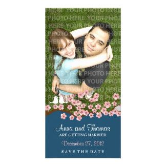 Cherry Blossom (Navy) Save the Date Photo Card
