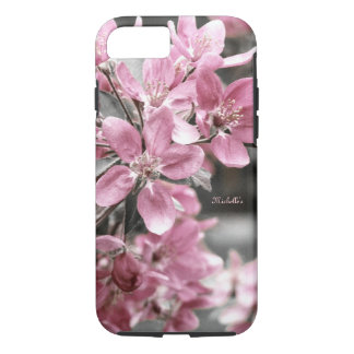 Cherry Blossom on Black and White Background iPhone 7 Case