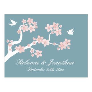Cherry Blossom on blue RSVP postcard