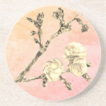 "Cherry Blossom on Pink and Coral Coaster<br><div class=""desc"">The cherry blossom image was created with pencil and digitized.</div>"