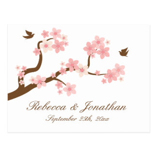 Cherry Blossom on white RSVP postcard