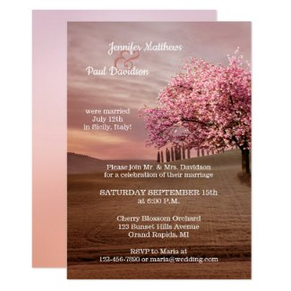 Cherry Blossom Orchard After Wedding Invitation