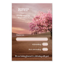 Cherry Blossom Orchard Tree Wedding RSVP Card