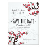 Cherry Blossom Oriental Wedding Save the Date 5x7 Paper Invitation Card