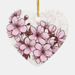 Cherry blossom Double-Sided heart ceramic christmas ornament