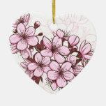 Cherry blossom Double-Sided heart ceramic christmas ornament
