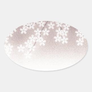 Cherry Blossom Oval Sticker
