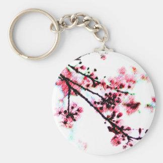 Cherry Blossom Painting Basic Round Button Keychain