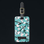 """Cherry Blossom Pattern Custom Name Address Luggage Tag<br><div class=""""desc"""">Turquoise luggage tag with a floral pattern in black,  white,  and pink. The back features matching stripes.</div>"""