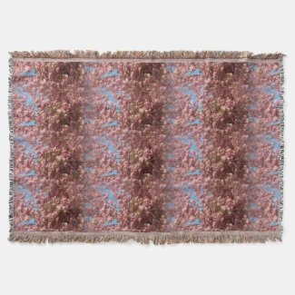 Cherry Blossom Pattern on Throw Blanket