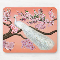 Cherry Blossom Peacock Mouse Pad